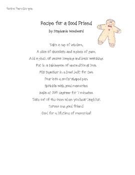 Recipe Poem activity or center