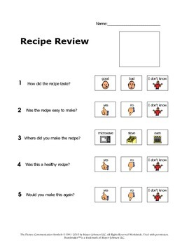 Recipe Review for the Autism Classroom