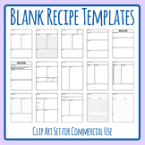 Recipe Templates Clip Art Set for Commercial Use