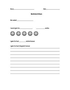 Recipe Worksheet