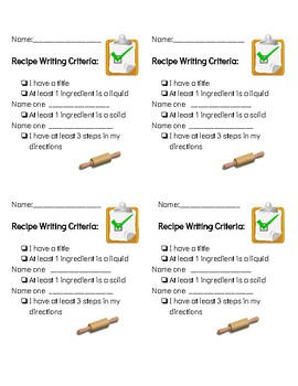 Recipe Writing Paper with Criteria Checklist
