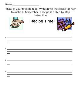 Recipe Writing Prompt