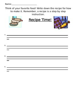 Recipe Writing Prompt