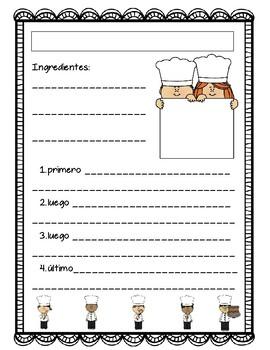 Recipe Writing Sheet - Spanish