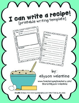 recipe writing template by allyson valentine teachers pay teachers