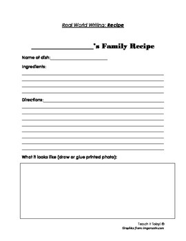Recipe activity / Class Cook book ( Real World Writing)