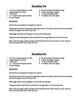 Recipe for Breakfast Pie