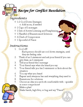Recipe for Conflict Resolution + I-Message Template