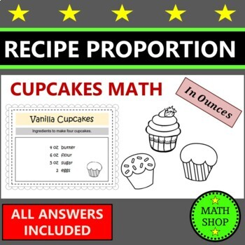 Math - Ratio - Proportion - Fairy Cakes - Recipe Questions (US Version)