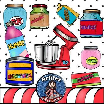 Recipe for Great Teaching clip art. Color and B&W.  1000 followers!!!
