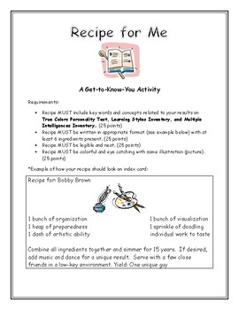 Recipe for Me Introductory Activity