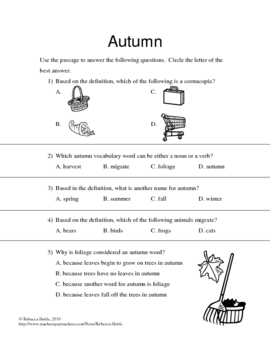 Recipe for Reading Comprehension - Autumn Leaves