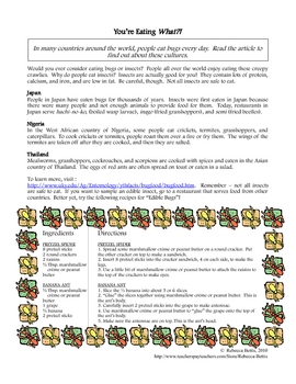 Recipe for Reading Comprehension - Edible Insects