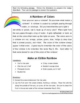 Recipe for Reading Comprehension - Edible Rainbow
