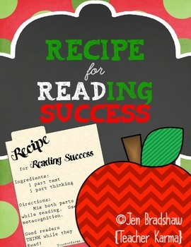 Recipe for Reading Success FREEBIE ~ Metacognition ~ Compr