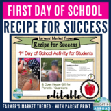 Recipe for Success: Back to School Activity EDITABLE {Farmer's Market Theme}