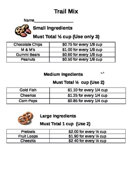 Recipe for Trail Mix using Fractions