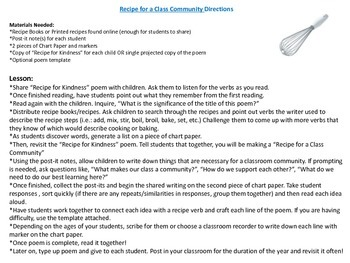 Recipe for a Community - Shared Poetry Reading and Writing for Back to School