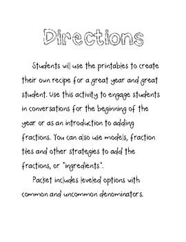 Recipe for a Great Year Fraction Activity