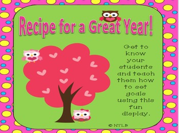 Recipe for a Great Year!  First Day of School Goal Setting