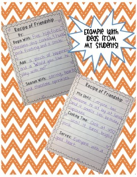 Recipe of Friendship Writing Activity