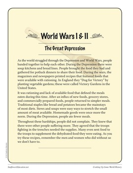 Recipes From World Wars I & II; The Great Depression