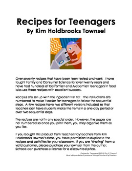 Recipes for Teenagers by Kim Holdbrooks Townsel 2013