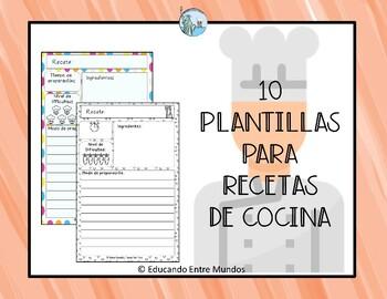 Recipes templates in Spanish Plantillas para recetas