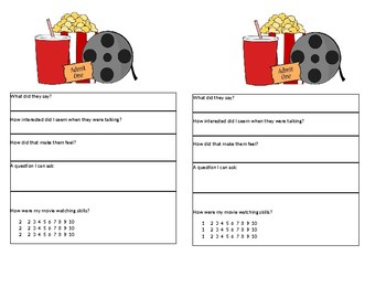 Reciprocal Conversation, Movie Theater Cue Card, Social Communication