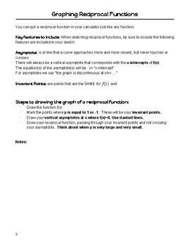 Reciprocal Functions Notes Package