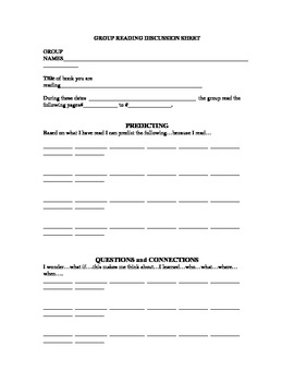 Reciprocal Learning Worksheet and examples