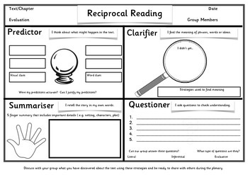 Reciprocal Reading Worksheet   Teachers Pay Teachers