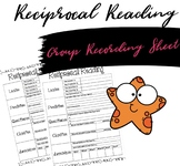 Reciprocal Reading Group Recording Sheet