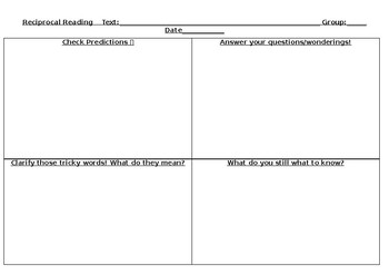 Reciprocal Reading Student Fill in