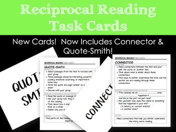 Reciprocal Reading Task Cards and Worksheet