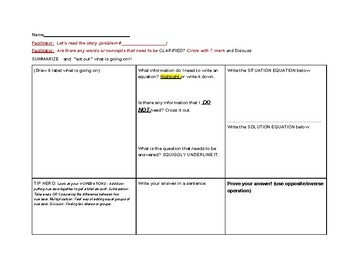 Reciprocal Teaching Graphic Organizer (Situation/Solution)