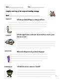 Reciprocal Teaching Student Record Sheet