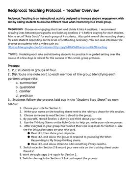 Reciprocal Teaching Protocol Teacher Overview
