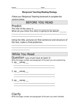 Reciprocal Teaching Worksheet