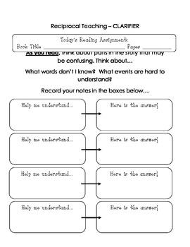 Reciprocal Teaching student handouts