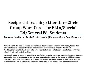 Reciprocal Teaching/Literature Circle Cards Gr.7-12 with Sentence Starters
