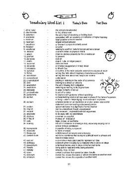 Recirculating Vocabulary And Cultural Literacy Curriculum