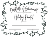Recital Achievement Certificate- Christmas