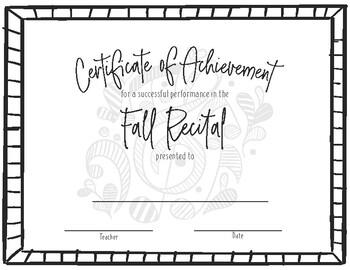 Recital Achievement Certificate- Fall