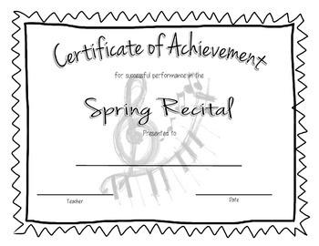 Recital Achievement Certificate- Spring