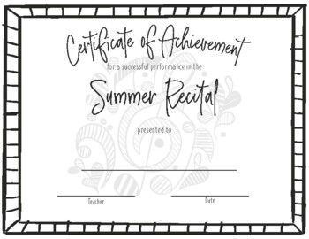 Recital Achievement Certificate- Summer