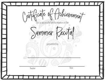 Recital Achievement Certificate- Summer