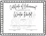 Recital Achievement Certificate- Winter