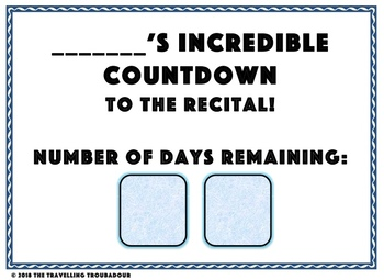 recital concert countdown template by the travelling troubadour tpt