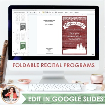 Recital Kit for Google Slides™: Invitations, Programs, Certificates {Editable}